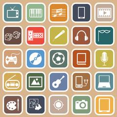 Entertainment flat icons on orange background