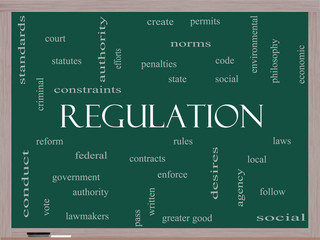 Regulation Word Cloud Concept on a Blackboard