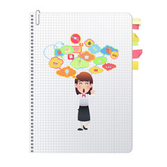 businesswoman printed on notebook over white background