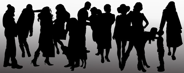 Vector people silhouette.