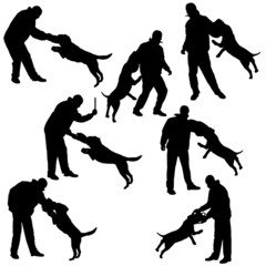 Vector silhouette of a man and dog.