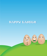 Family egg with nature background
