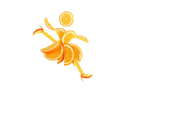 Healthy eating. Funny dancing little woman made of the orange sl