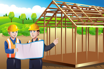 Construction worker discussing blueprint
