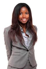 Black businesswoman on white background