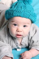 cute baby in blue hat