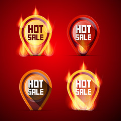 Hot Sale Labels Set in Flames - Fire