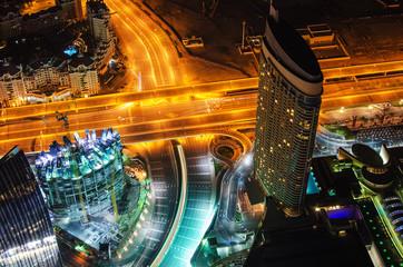 Downtown of Dubai (United Arab Emirates) at night