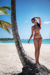 Sexy woman standing near palm tree on white beach in Saona