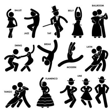 Dancing Dancer Stick Figure Pictogram Icon