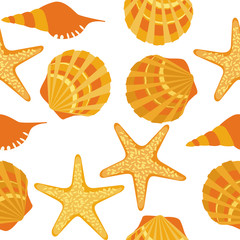 vector seamless pattern, shells, starfish