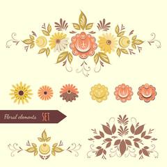 Set of floral design elements.