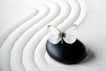 Printed roller blinds Stones in Sand Zen stone with butterfly
