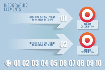 Infographic elements. Targets and solutions.