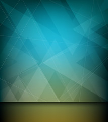 Abstract triangle and line design blue background