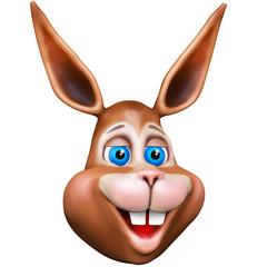 Happy Bunny Cartoon Face 3D