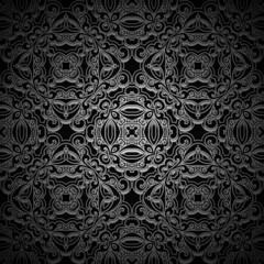 Ornamental black background, seamless pattern