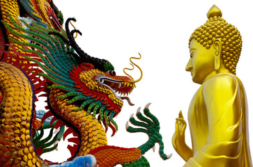 Isolates Buddha statue with the dragon part of Buddhism
