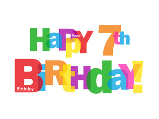 """""""HAPPY 7TH BIRTHDAY"""" CARD (seventh seven years old party wishes)"""