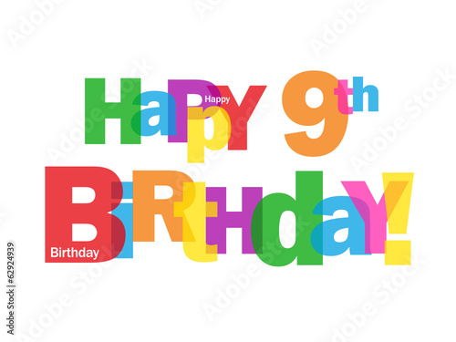 Happy 9th Birthday Card Ninth Nine Years Old Party Wishes Stock