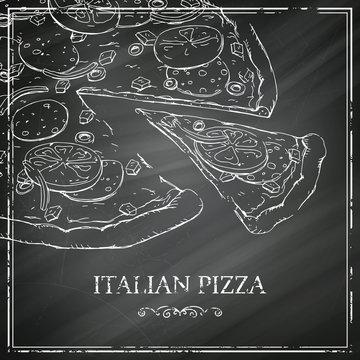 Vector Italian Pizza Poster on a Black Chalkboard