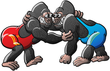 Brave Gorillas Fighting in a Wrestling Combat