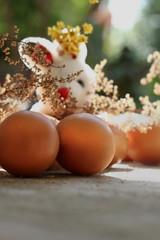 conejo escondido detrás de los huevos