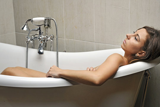 girl stress condition in the bath