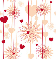 Red flower seamless background vector