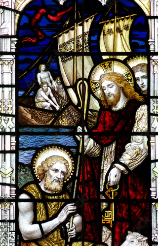 Jesus and St  Peter with keys, in stained glass