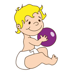Vector illustration - cute baby holds a ball