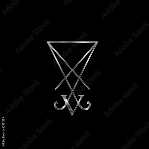 Sigil Of Lucifer In Silver Symbol For Satan Worshippers Stock