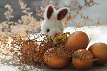 conejo en la granja con decoración de huevos