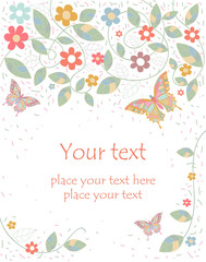 Vector greeting card with flowers and butterflies