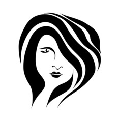 Abstract black and white face beautiful girl vector