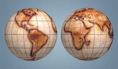 globes textured with old grungy world map