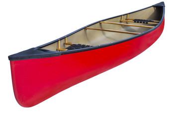 red tandem canoe