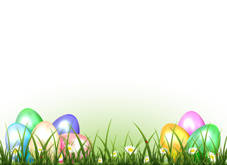 Set of Easter eggs on a grass