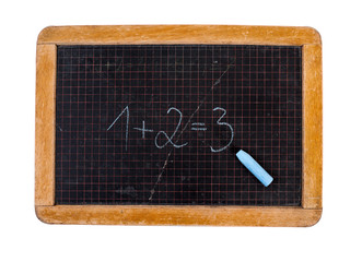 Vintage blackboard, chalk and isolated on white.