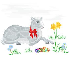Lamb and daffodil