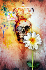 Wall Murals Imagination Graffiti wall with king skull and holy flower