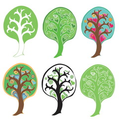 Set of tree icons. Vector art.