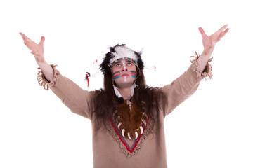 Native american praying for the rain