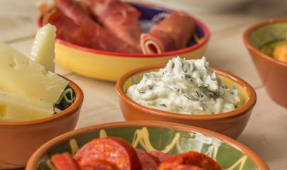 Tapas, tzatziki, manchego, chorizo and cured ham
