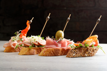 Tapas on Crusty Bread - Selection of Spanish tapas
