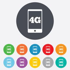 4G sign. Mobile telecommunications technology.