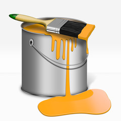 Farbeimer mit Pinsel, Gelb