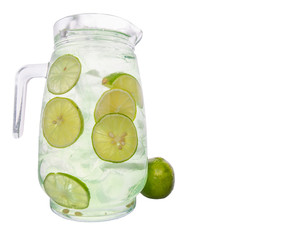 Lime Juice Over White Background