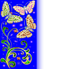 background with butterflies and ornaments made of precious ston