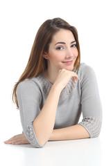 Beautiful woman portrait  posing raising eyebrow